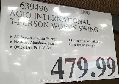 Deal for the Agio International 3-person Woven Patio Swing at Costco