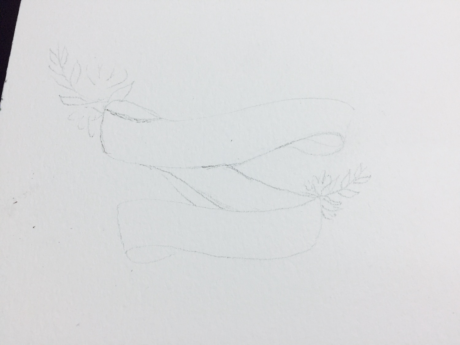 detailed pencil sketch of the watercolour floral bannner