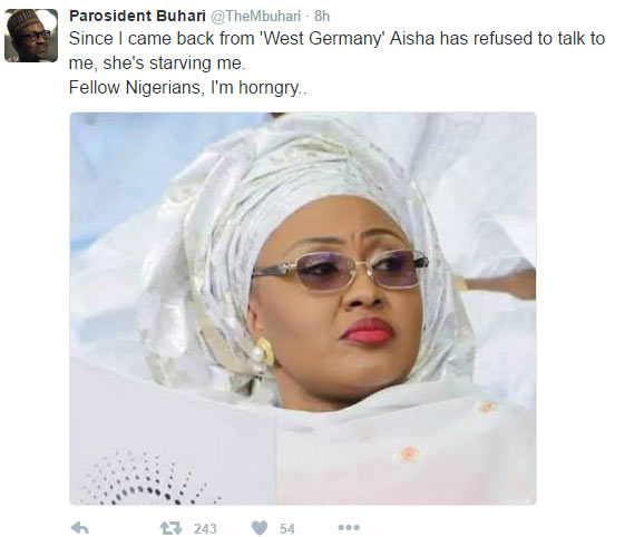 "Lol. See what ""Buhari"" wrote on Twitter after Aisha outburst"