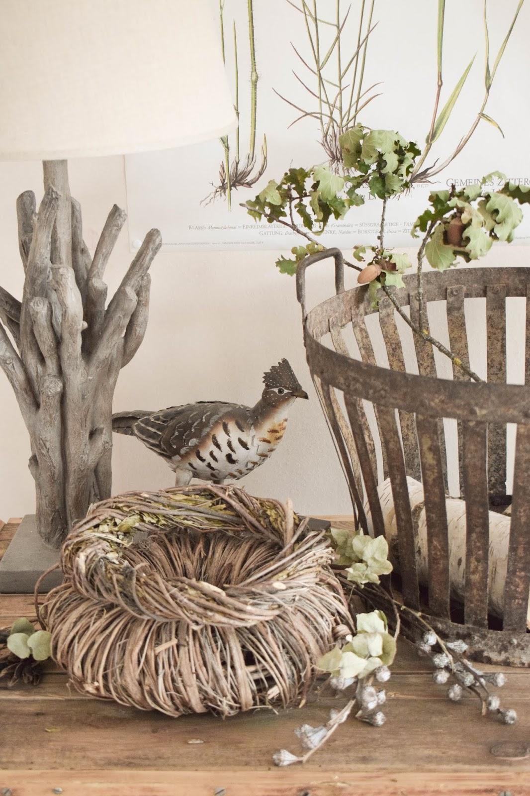Deko Herbst Naturdeko natürlich dekorieren für Sideboard Konsole Kranz Flohmarkt Dekoidee