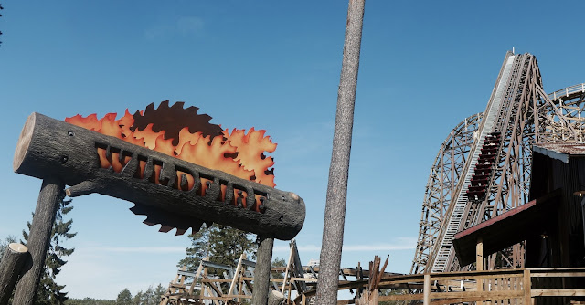 Photo of Wildfire Roller Coaster Entrance Sign and Lift Hill