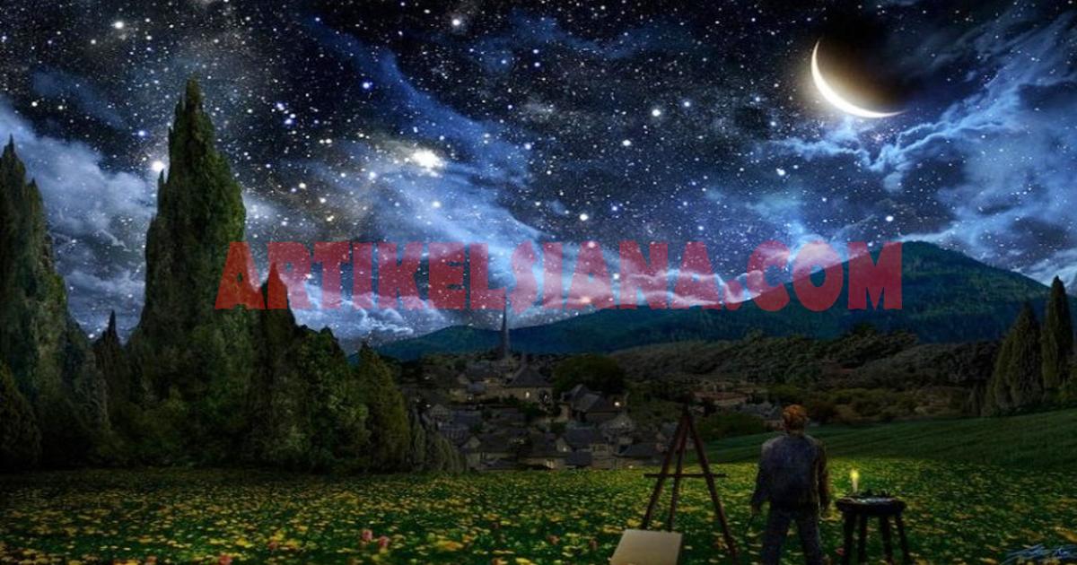 Lukisan Pemandangan Malam Hari Indah