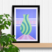 Modern abstract purple green vase A4 print and stitch on card paper pricking hand embroidery pattern for framed wall art picture.