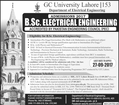 Admissions Open in Govt College University GC Lahore - 2017