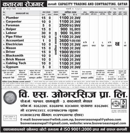 Jobs For Nepali In CAPACITY TRADING & CONTRACTING, QATAR Salary -Rs.1,05,950/