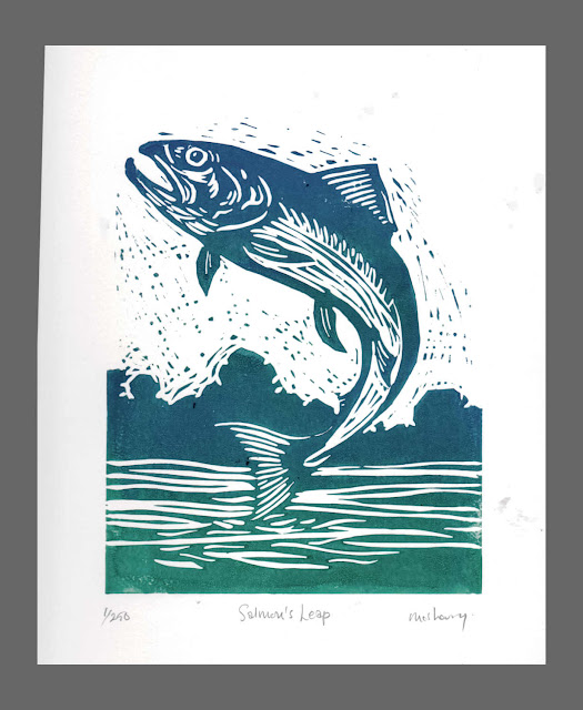 Salmon's Leap. Edition of 250. Hand printed from a linocut block plate