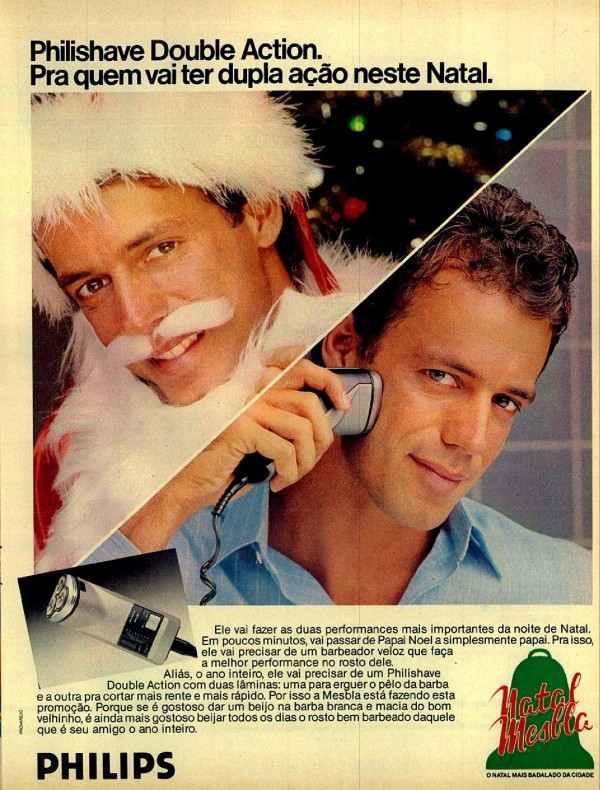 Campanha da Mesbla e da Philips para promover a linha de barbeadores no Natal na metade dos anos 80