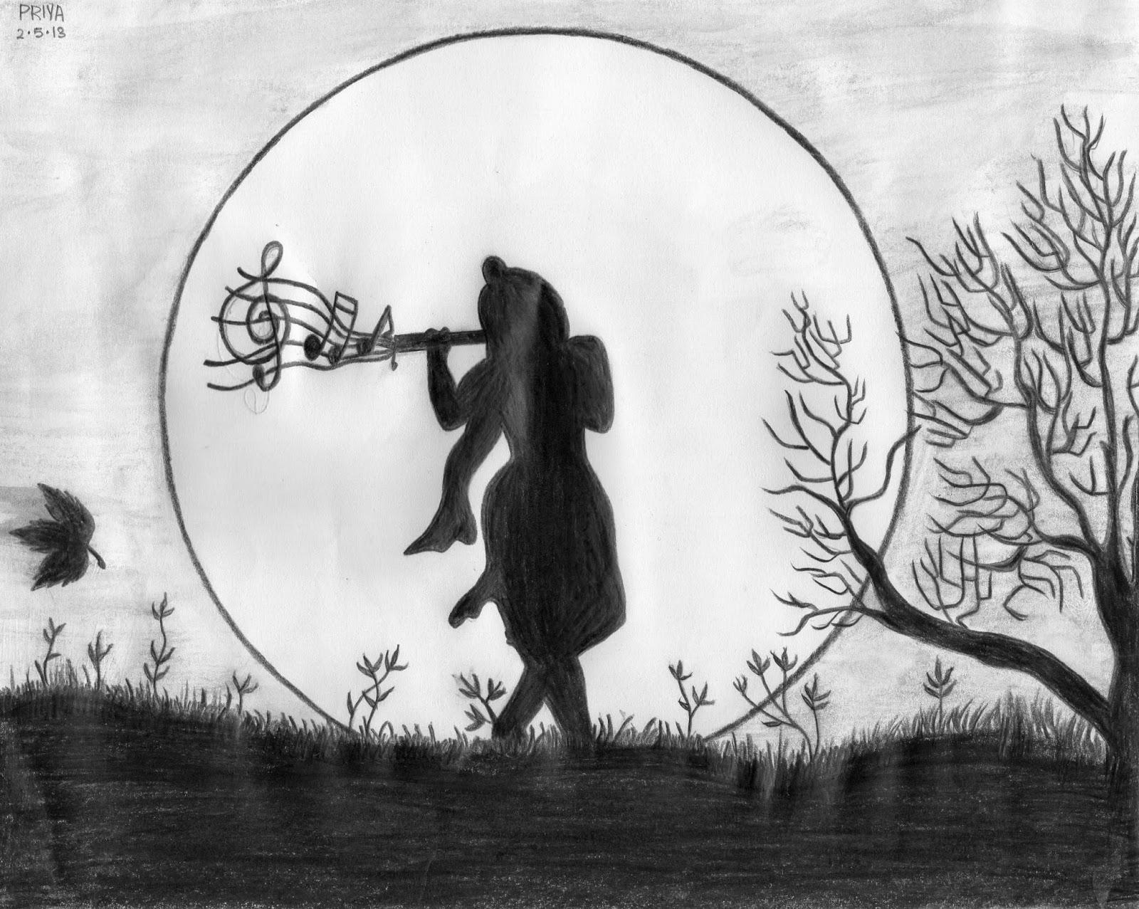 On A Full Moon Night Poem Krishna Drawing