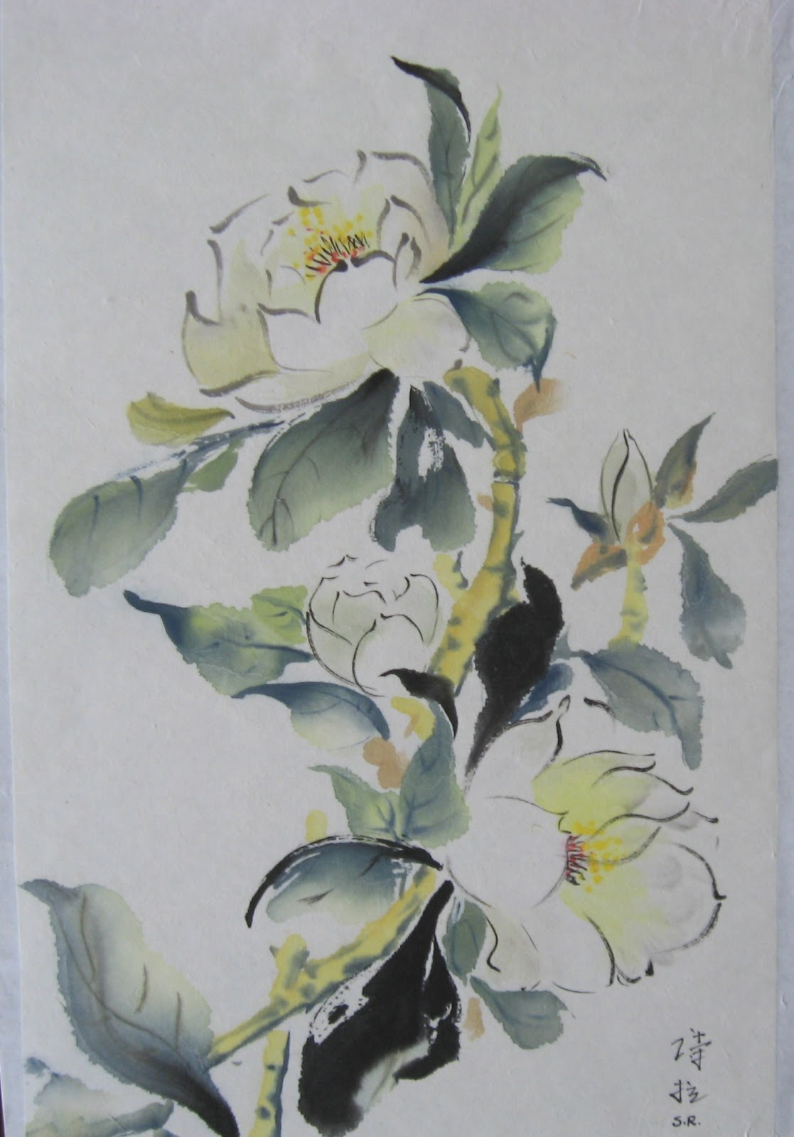 Watercolor Flowers And Paint Brushes: Shida Rad's Canvas: Flowers In Watercolor, Chinese Brush
