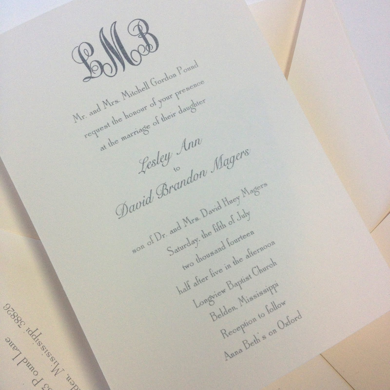 Lesley Pound and Brandon Magers Wedding Invitations | Fresh