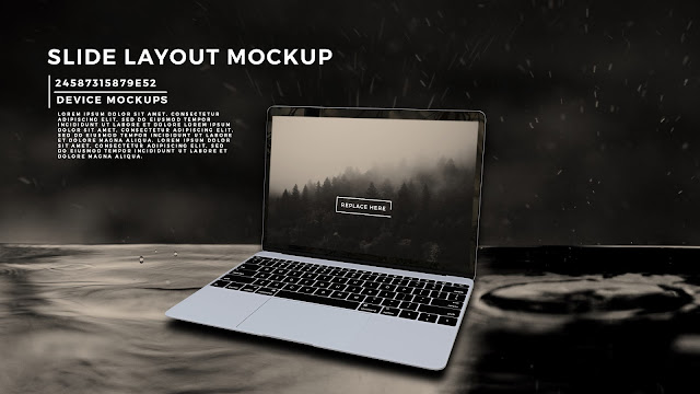 Perspective Silver Macbook Screen Mockup PowerPoint Template with Background