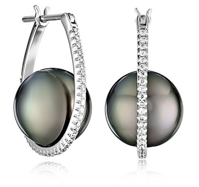 Black Pearl Diamond Silver Hoop Earrings
