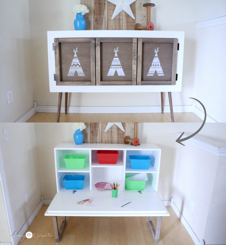 A Beautiful Credenza That Turns Into Kids Pull Down Table