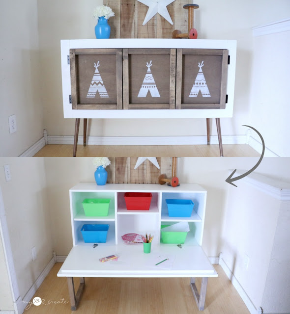 A beautiful credenza that turns into a kids pull down table