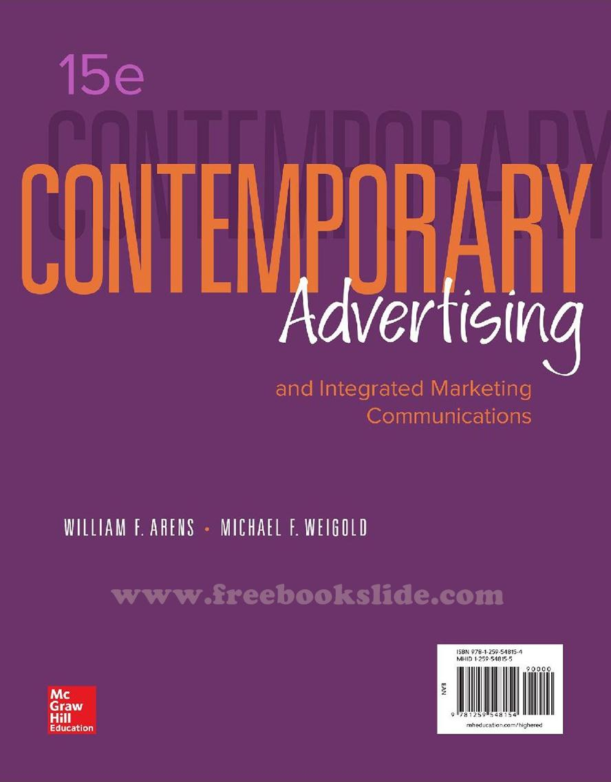Contemporary Advertising 15e by Arens and Weigold