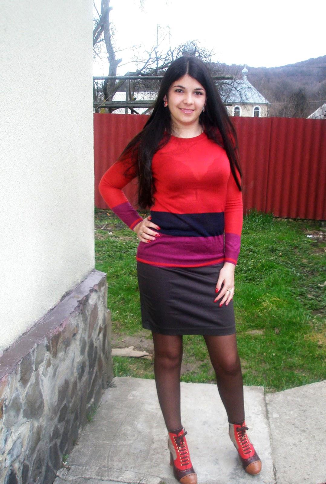 Fashion Tights Skirt Dress Heels Cute Russian Teacher