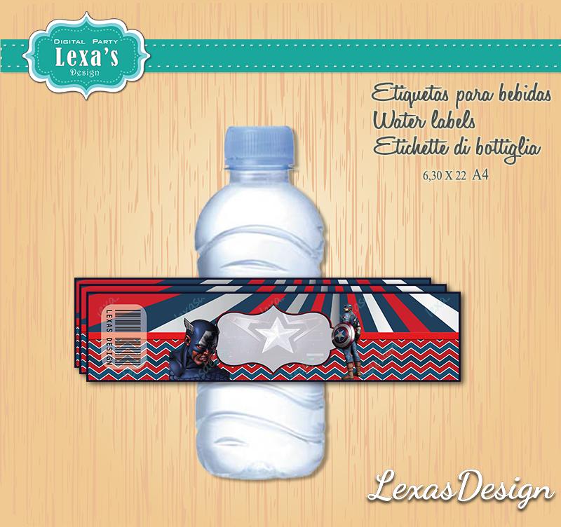 Etiquetas Jugo, Agua gratis Capitan America