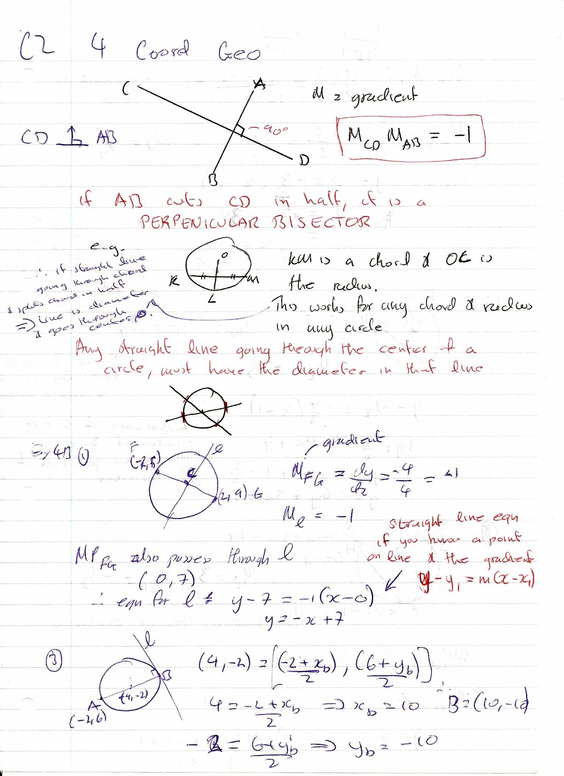 A Level Maths Notes Edexcel C2 4 Coordinate Geometry
