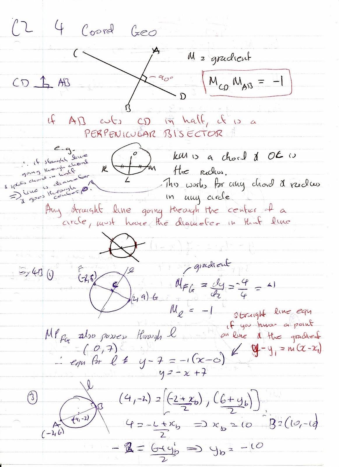 A Level Maths Notes Edexcel C2 4 Coordinate Geometry