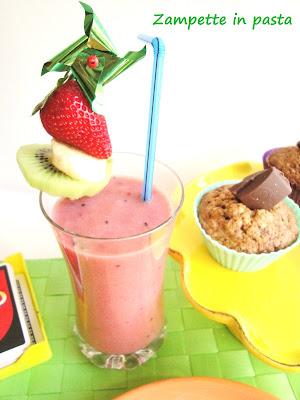 Frullato di frutta e Muffin alla carota e cioccolato al latte