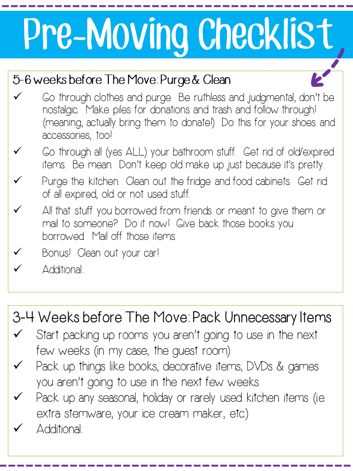 Pre Moving Checklist from @blogginginpa