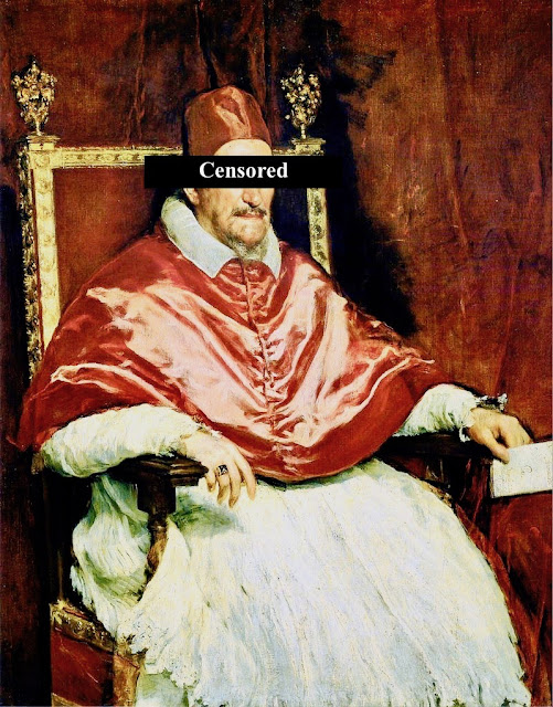 Portrait of Pope Innocent X by Diego Velazquez c. 1650. The Fig Leaf Campaign. MarchMatron.com