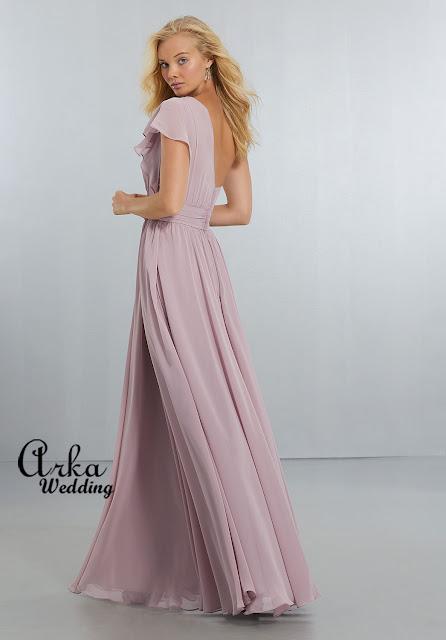 3f62d7328da ΝΥΦΙΚΑ ARKAWEDDING: Μοντέρνο Φόρεμα Βραδινό, Chiffon,Μακρύ με έναν ...