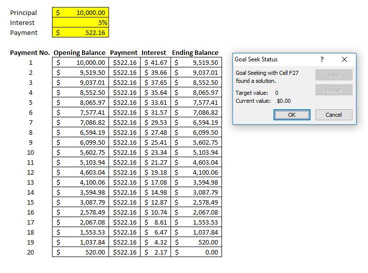 goal seek amortization table