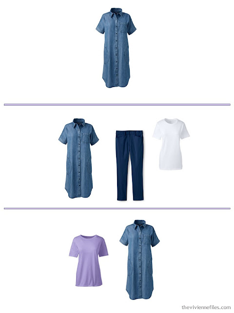 3 ways to wear a denim shirtdress from a spring and summer travel capsule wardrobe