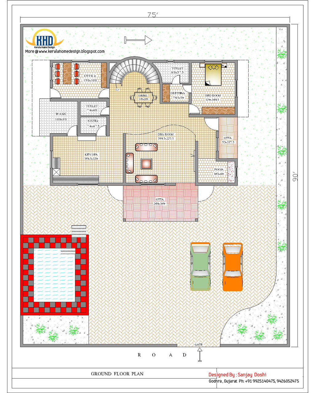 Duplex house plan and elevation 4217 sq ft kerala House plan and elevation drawings