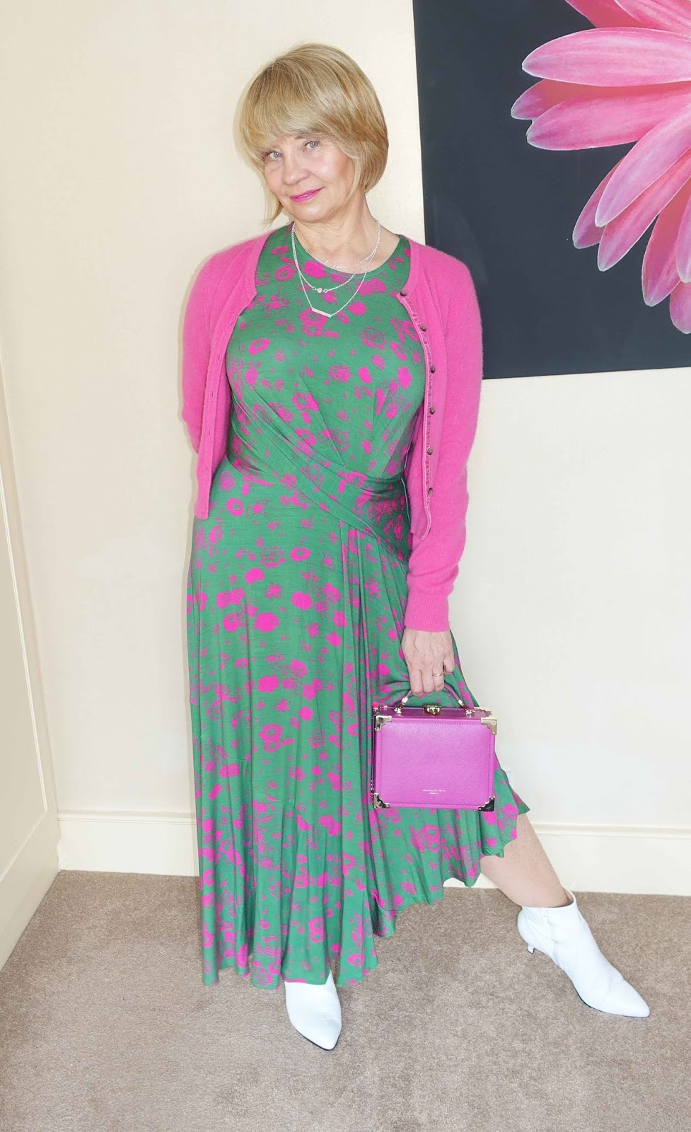 Green and pink asymmetric dress by Studio at Preen by Debenhams, ideal for all seasons