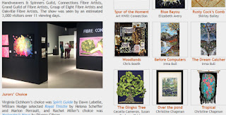 screen shot of the Fibrations homepage showing a photo of the exhibit space and photos of some of the works from previous shows