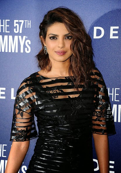 Priyanka Chopra in See-through Black Mini-dress at Grammy Party
