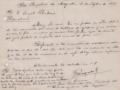 Carta del presidente del Club Ajedrez Santa Perpetua en 1948