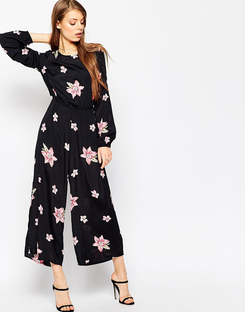 pink flower black jumpsuit,