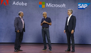 The Adobe, Microsoft and SAP CEOs on stage at Microsoft Ignite Source: Microsoft Ignite Webcast Holger Mueller