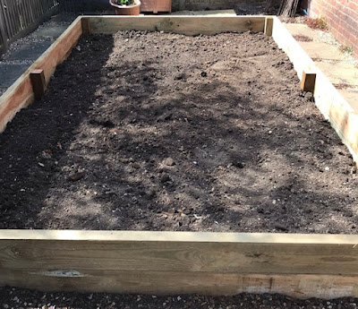 Wooden raised bed vegetable patch