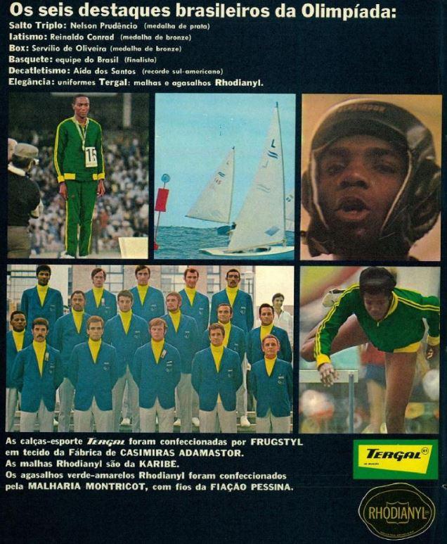 Propaganda da Tergal em homenagem aos atletas medalhistas dos Jogos Olímpicos realizados no México em 1968
