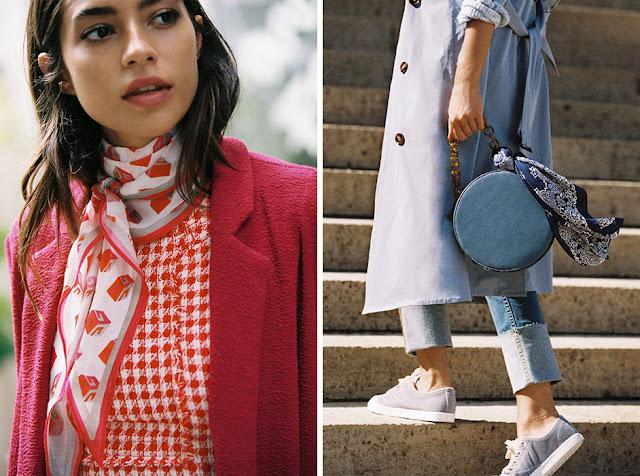 Девушка в розовом пальто и платке, девушка в голубом пальто с платком на сумке