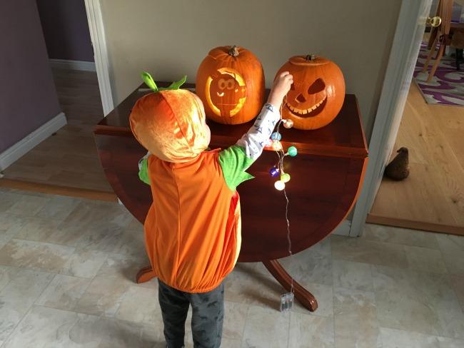 #Blogtober16-Day-31-happy-Halloween-toddler-with-pumpkins