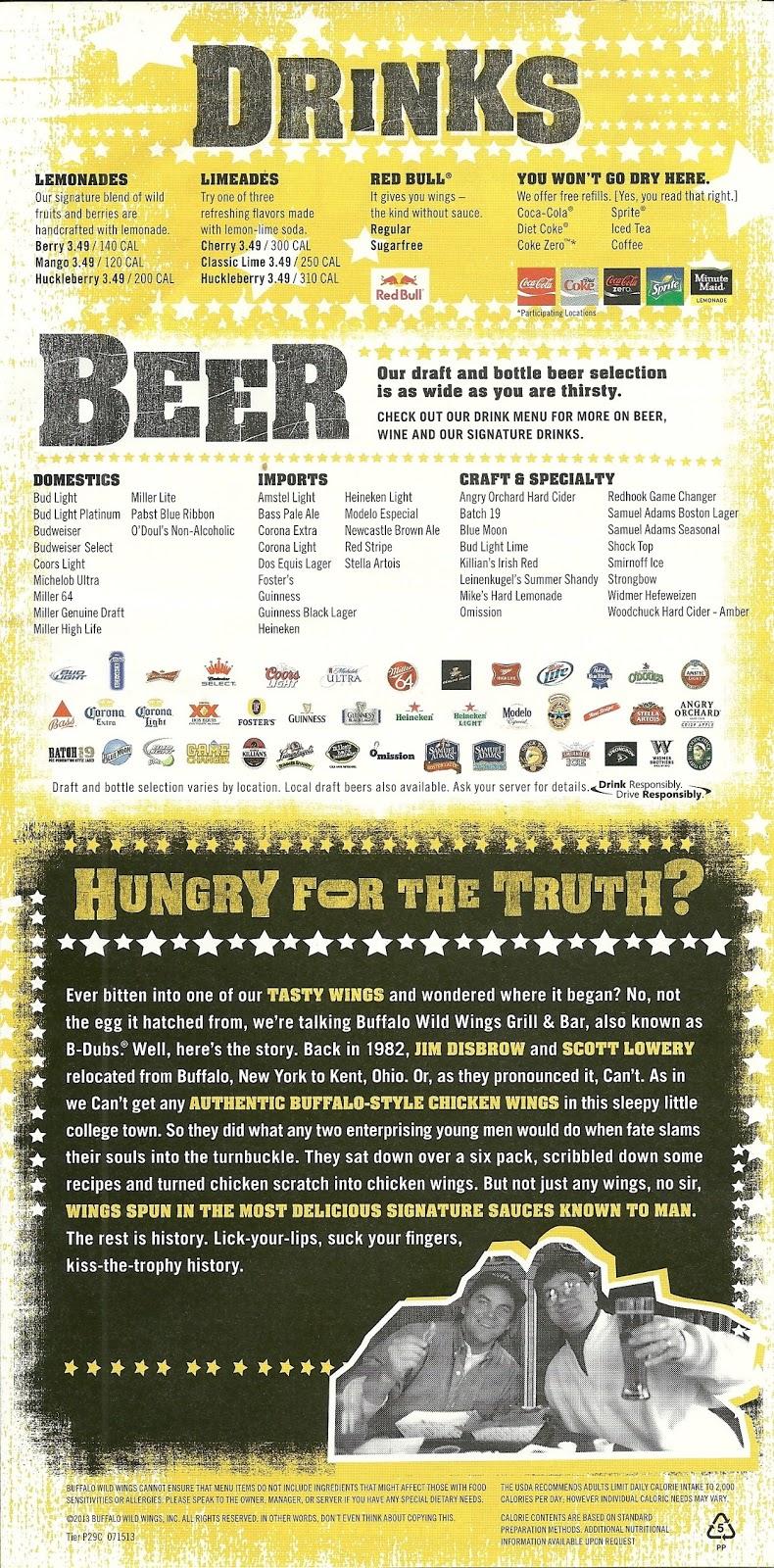 photo relating to Buffalo Wild Wings Printable Menu identified as Buffalo Wild Wings Beverage Menu Anti Feixista