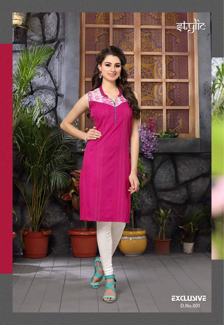 Exclusive – Attractive Designer Glaze Cotton Kurti Wholesale Rate
