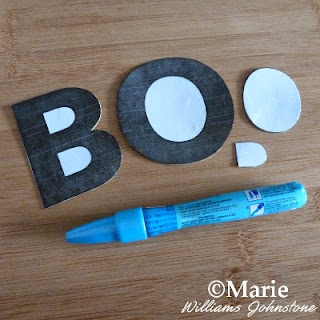 Boo letters alphabet sections for a Halloween craft and a Zig glue pen
