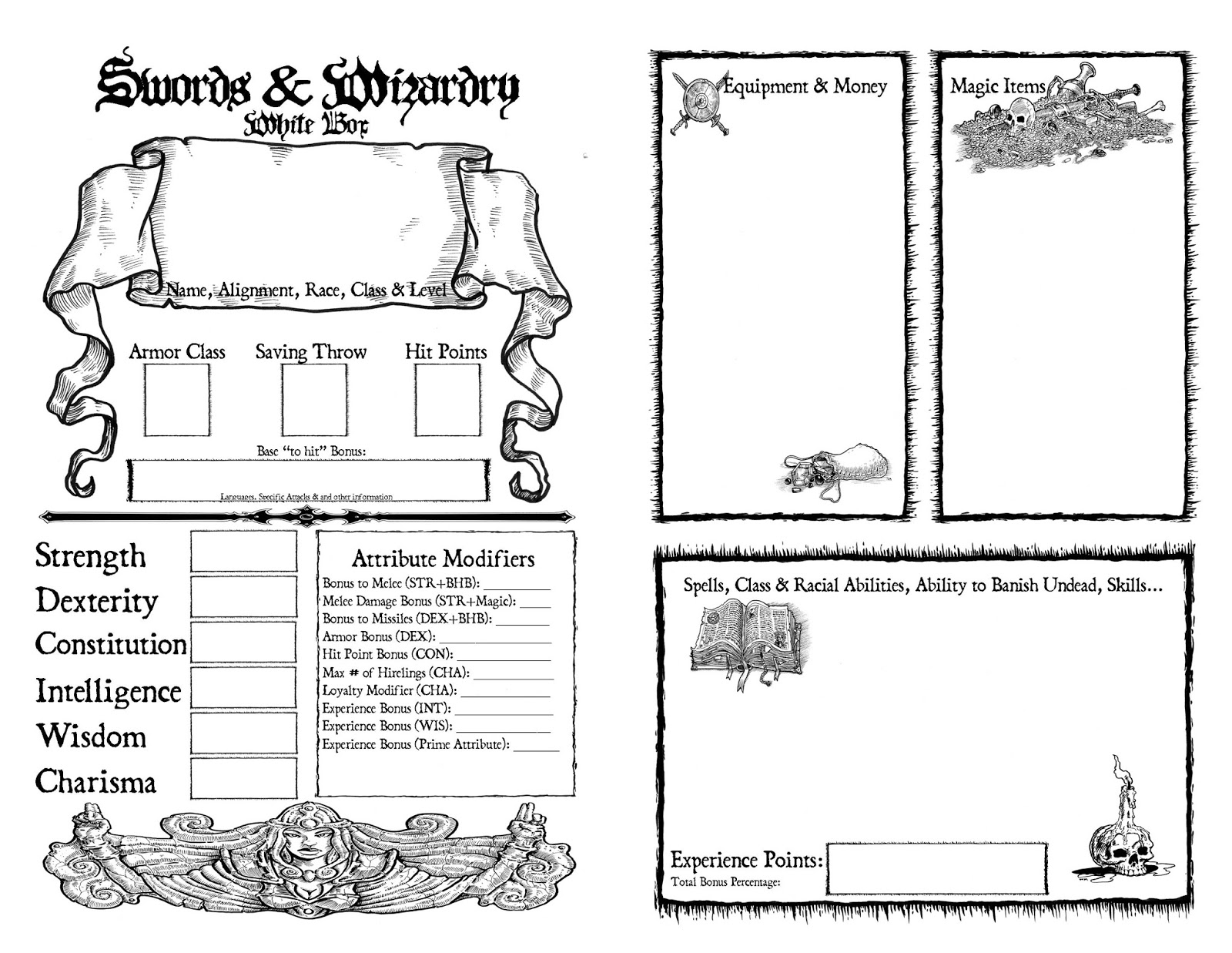 Fear No Darkness Swords Amp Wizardry White Box Character Sheet