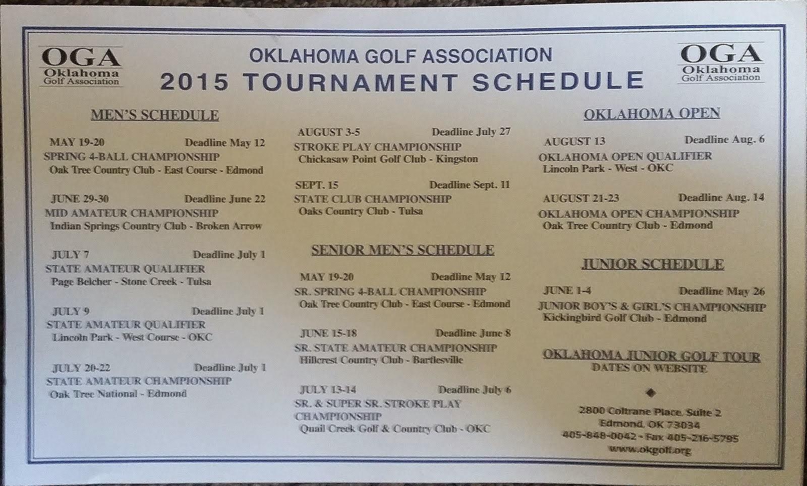 OGA AMATEUR SCHEDULE 2015