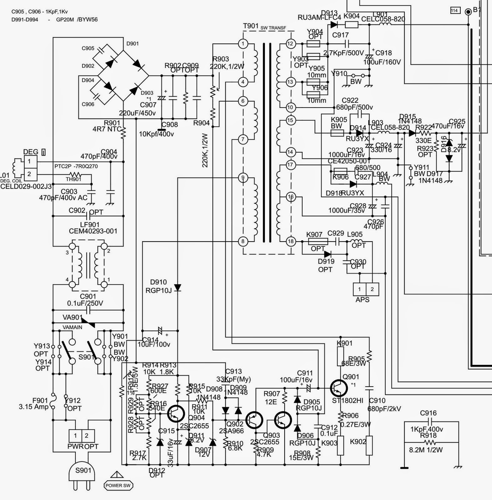 tv circuit diagram onida