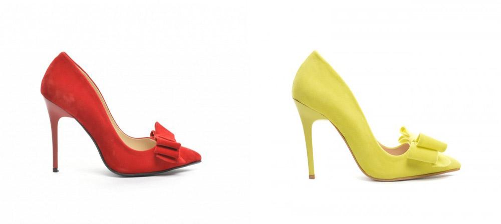 Pantofi cu fundita de ocazii cu toc subtire rosii, galbeni frumosi la moda