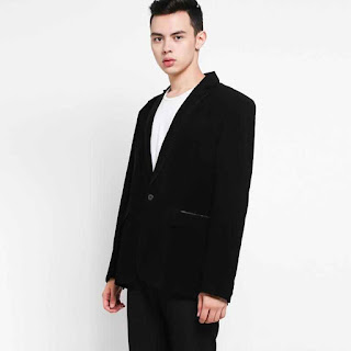 Grosirjaket Style List Satin Jas Formal Pria - Hitam