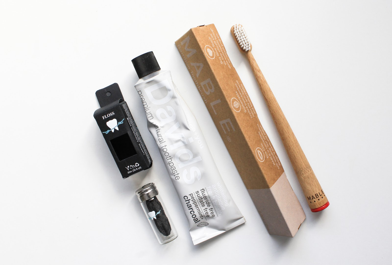 Living Lighter Limited Edition Discovery Beauty Heroes Davids Natural Premium Toothpaste Peppermint + Charcoal, Lucky Teeth Bamboo Vegan Floss, Mable Bamboo Toothbrush
