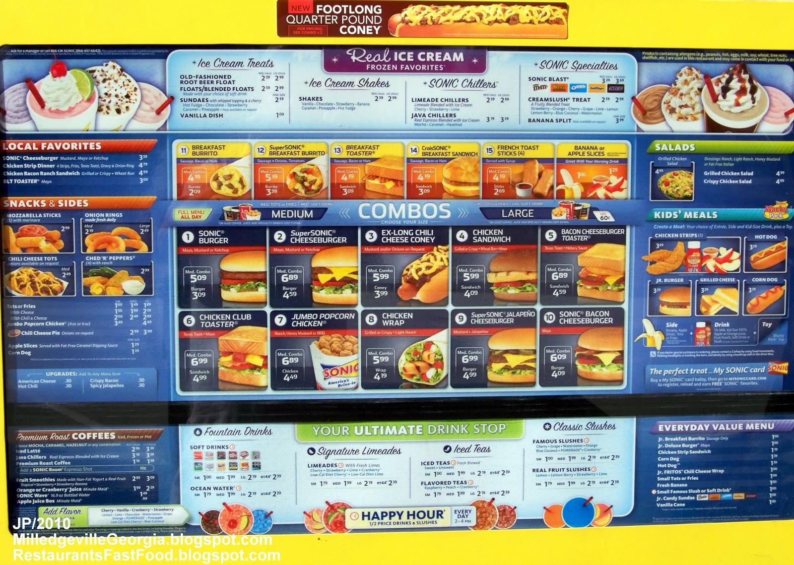 Sonic Fast Food Menu Prices